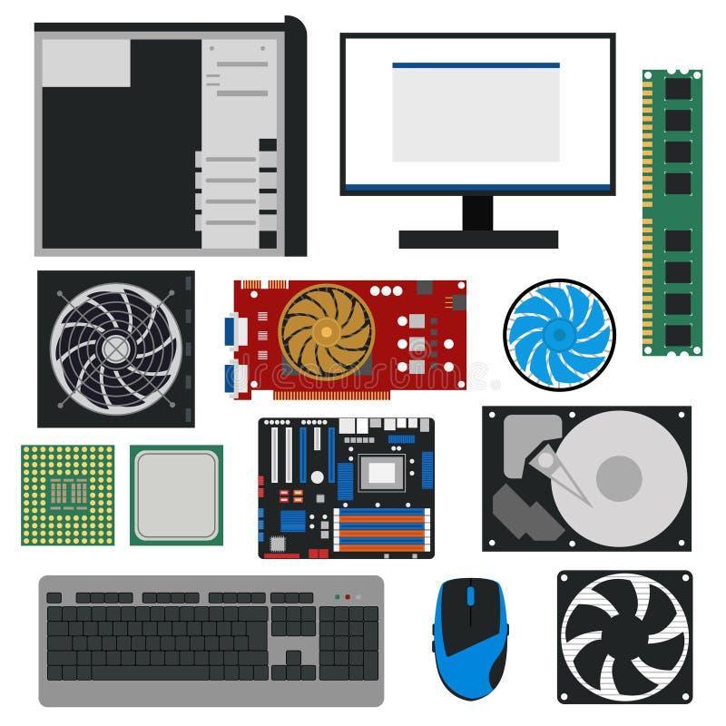 Karikatur PC Komponenten für Computer-Speicher-Satz Vektor vektor abbildung