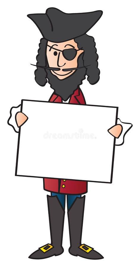 Karikatur-Pirat und Zeichen vektor abbildung