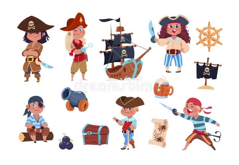 Karikatur-Piraten Lustige Piratenkapitän- und -seemanncharaktere, Schiffsschatzkarten-Vektorsammlung lizenzfreie abbildung