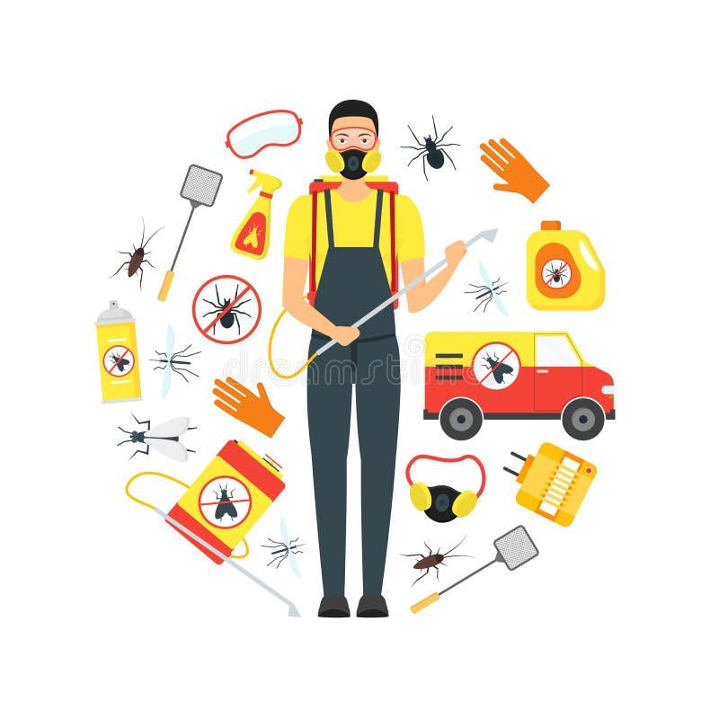 Karikatur-Plage-Kontrolldienst-Geschäfts-runde Design-Schablone Vektor stock abbildung