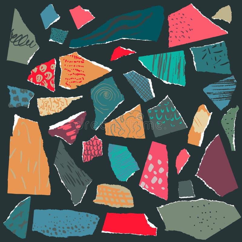 Karikatur polar mit Herzen Stücke heftiges Papier mit abstrakter Beschaffenheit für Collage stock abbildung