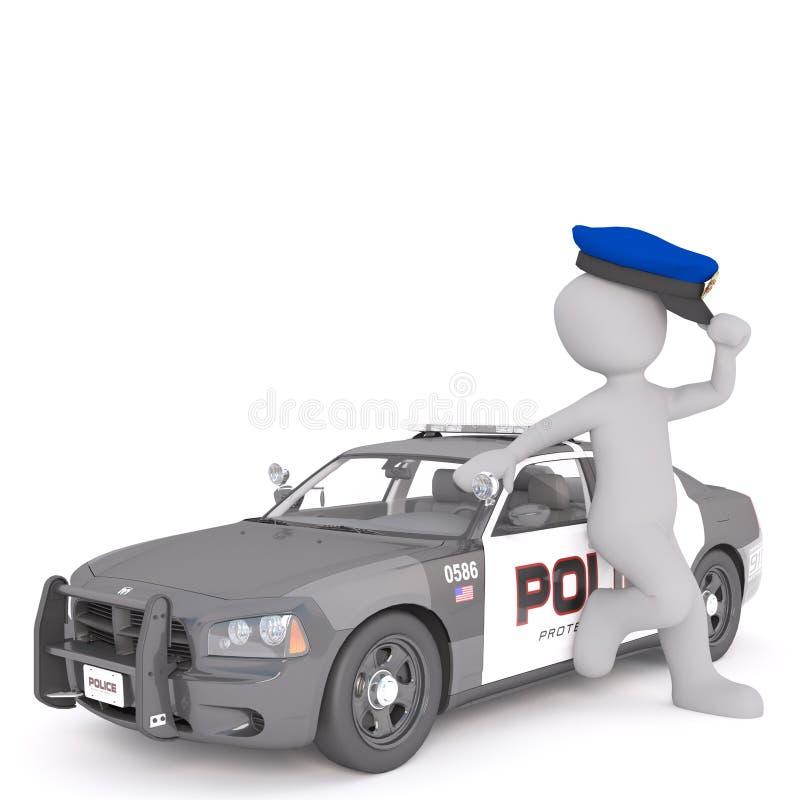 Karikatur-Polizeibeamte Leaning Against Cruiser stock abbildung