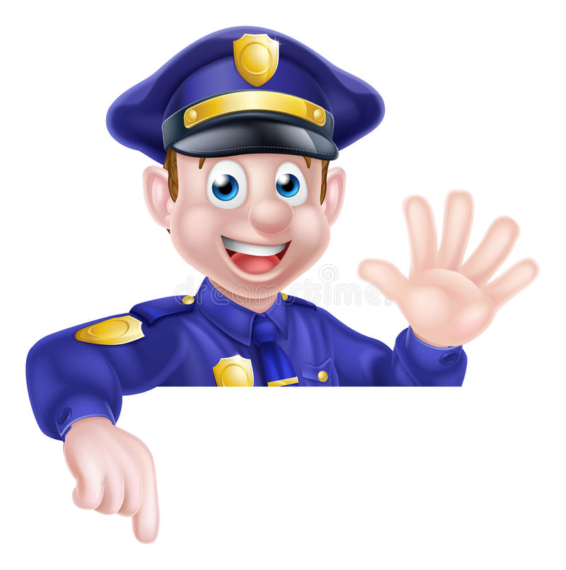 Karikatur-Polizist-Zeigen lizenzfreie abbildung