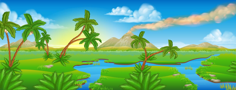 Karikatur-prähistorische Hintergrund-Szenen-Landschaft stock abbildung