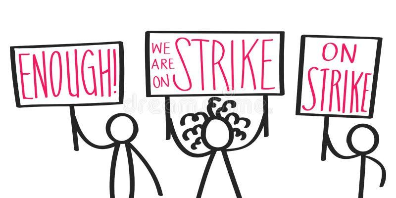 Karikatur protestierend, haften Sie die Zahlen, welche die Zeichen halten, die AUF STREIK, GENUG, auffallende Aktivisten sagen stock abbildung