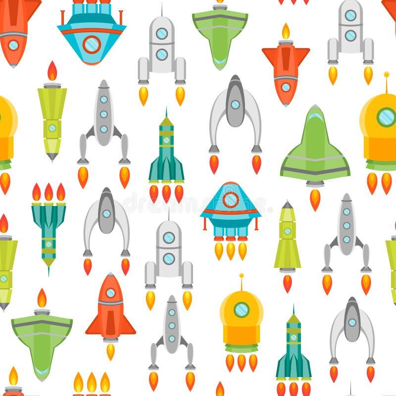 Karikatur-Raum-Schiff oder Rocket Background Pattern Vektor vektor abbildung