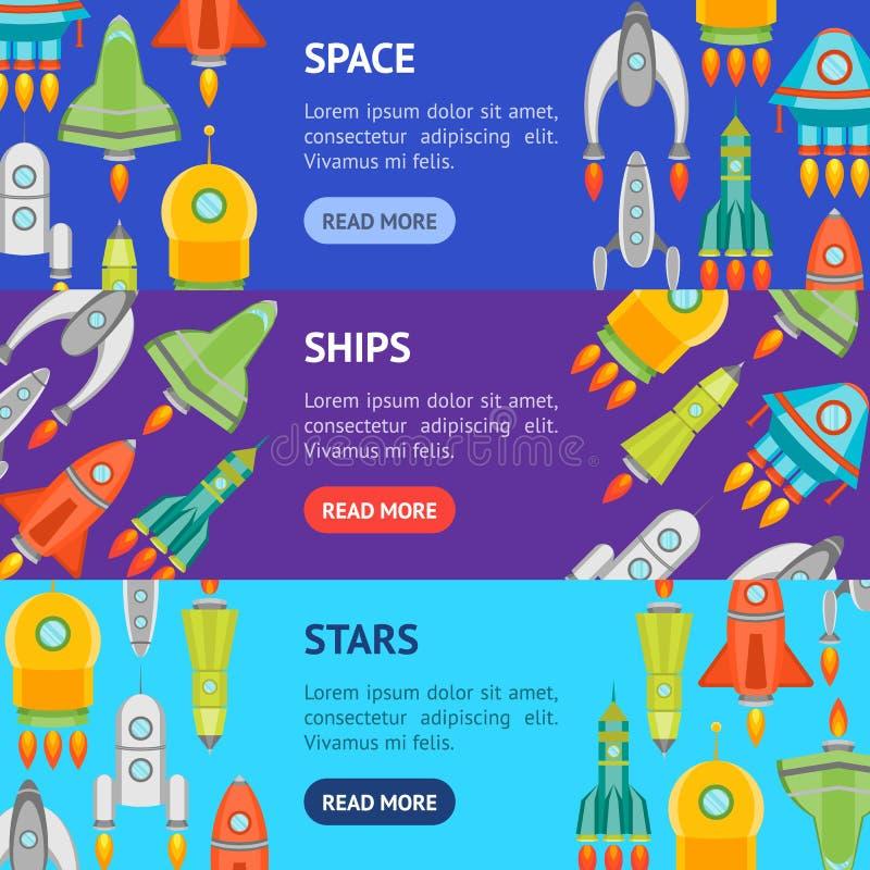 Karikatur-Raum-Schiff oder Rocket Banner Horizontal Set Vektor lizenzfreie abbildung