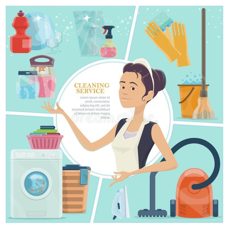 Karikatur-Reinigungsservice-buntes Konzept lizenzfreie abbildung