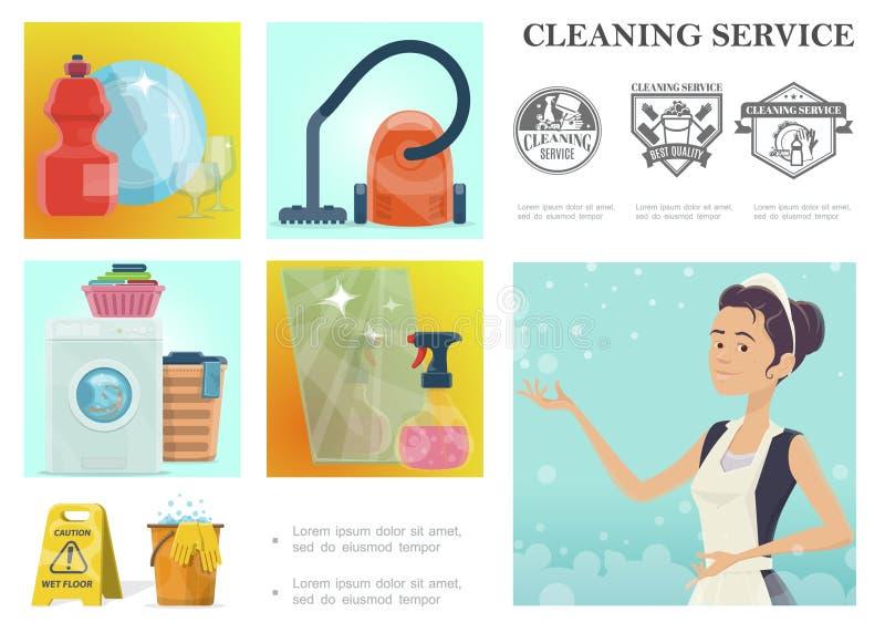 Karikatur-Reinigungsservice-Zusammensetzung vektor abbildung