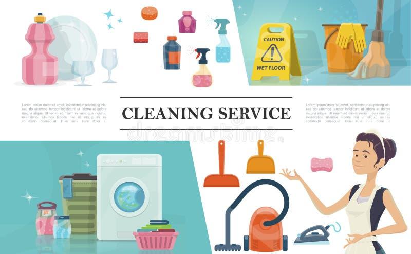 Karikatur-Reinigungsservicekonzept lizenzfreie abbildung