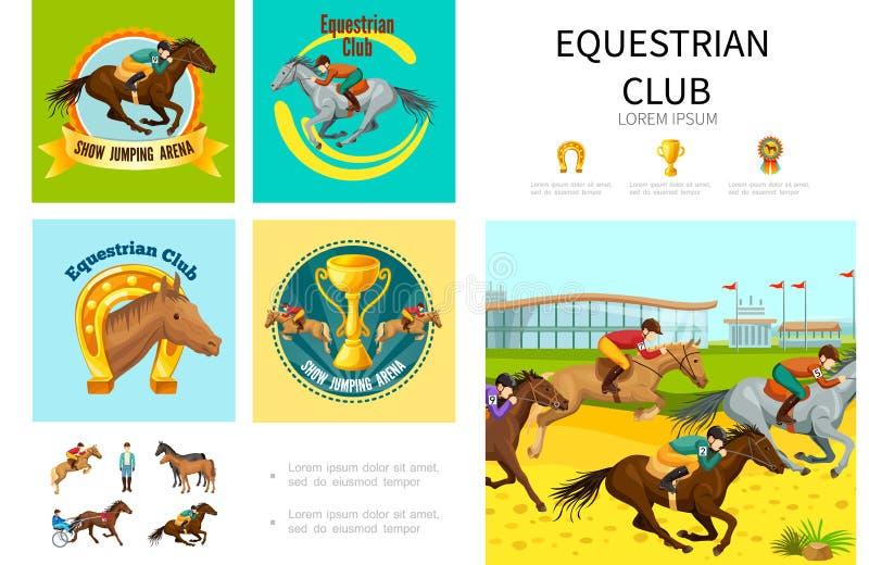 Karikatur-Reitersport Infographic-Konzept stock abbildung