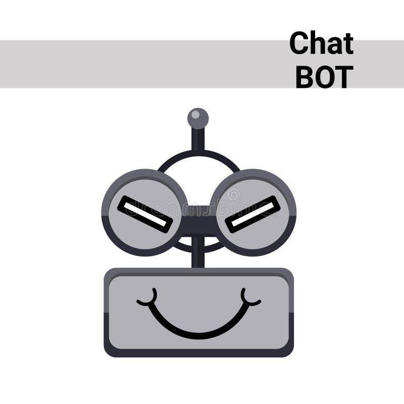 Karikatur-Roboter-Gesichts-schlaue nette Gefühl-Chat Bot-Ikone vektor abbildung