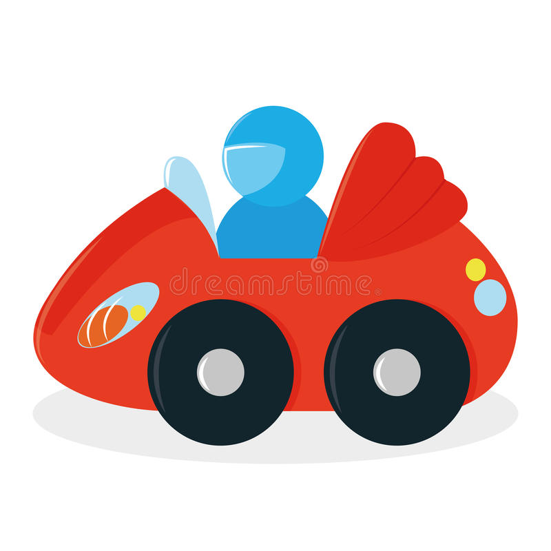 Karikatur-rotes Auto Toy Isolated On White Background vektor abbildung