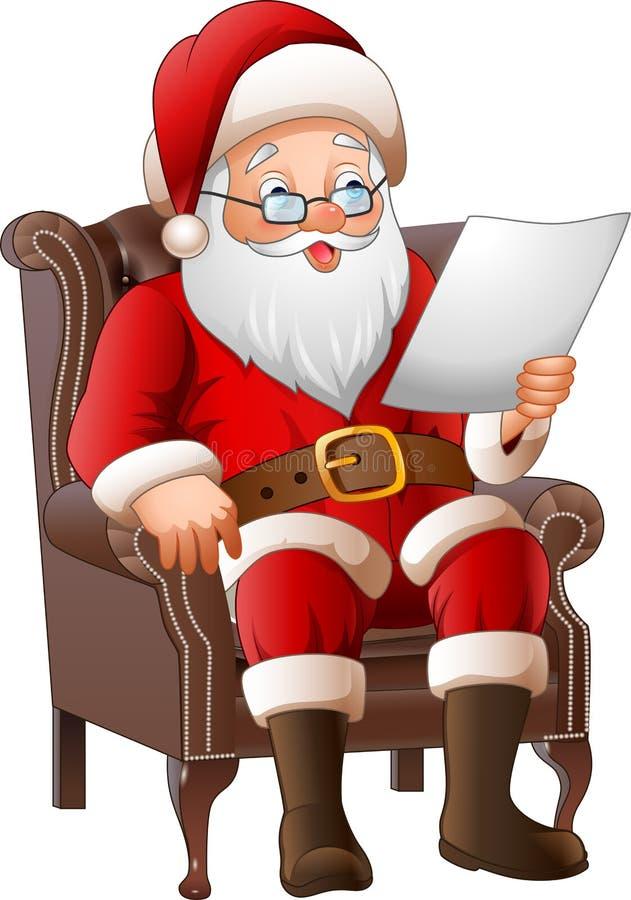 Karikatur Santa Claus, die an seinem Lehnsessel sitzt und einen Brief liest lizenzfreie abbildung