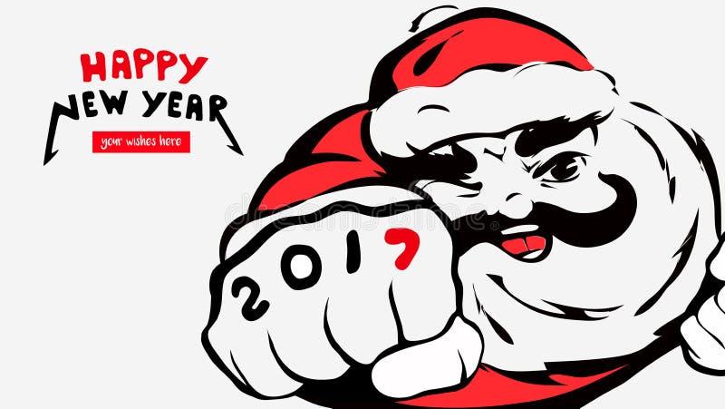 Karikatur Santa Claus, Grußkarte, guten Rutsch ins Neue Jahr, 2017, Platz für Ihre Wünsche Vaterweihnachtslächeln Fröhliches Weih stock abbildung