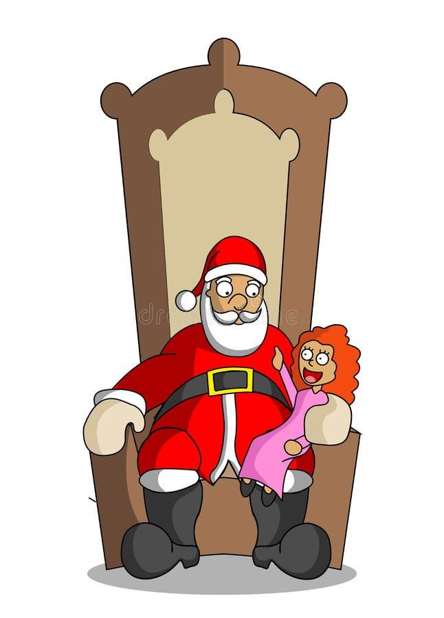Karikatur Santa Claus mit kleinem Mädchen am Ellbogenstuhl stock abbildung