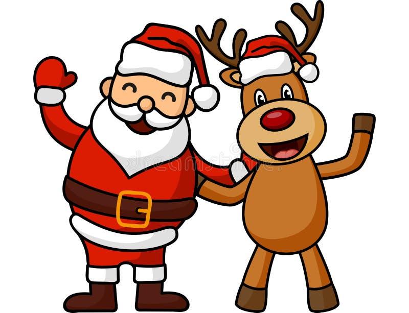 Karikatur Santa Claus und Rotwild lizenzfreie abbildung