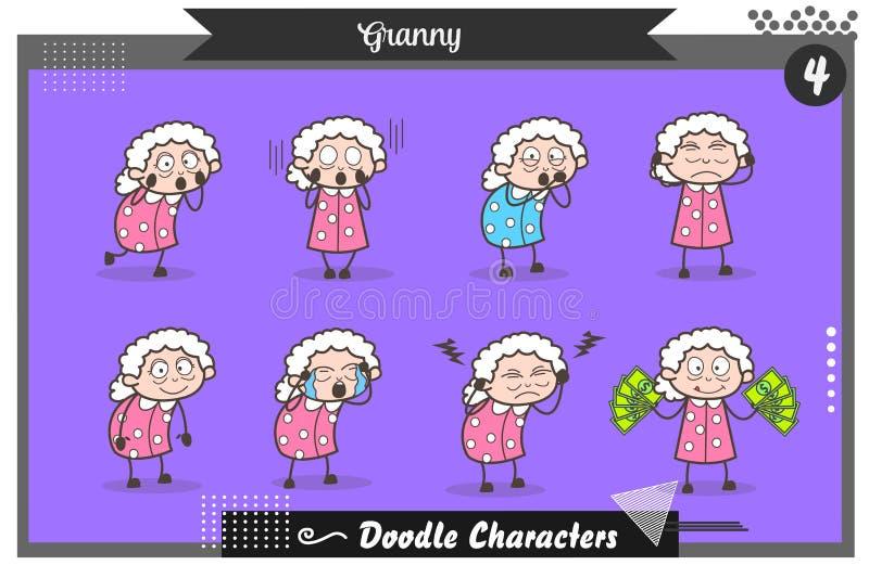 Karikatur-Satz der Oma-Haltungs-und Ausdruck-Vektor-Illustration lizenzfreie abbildung