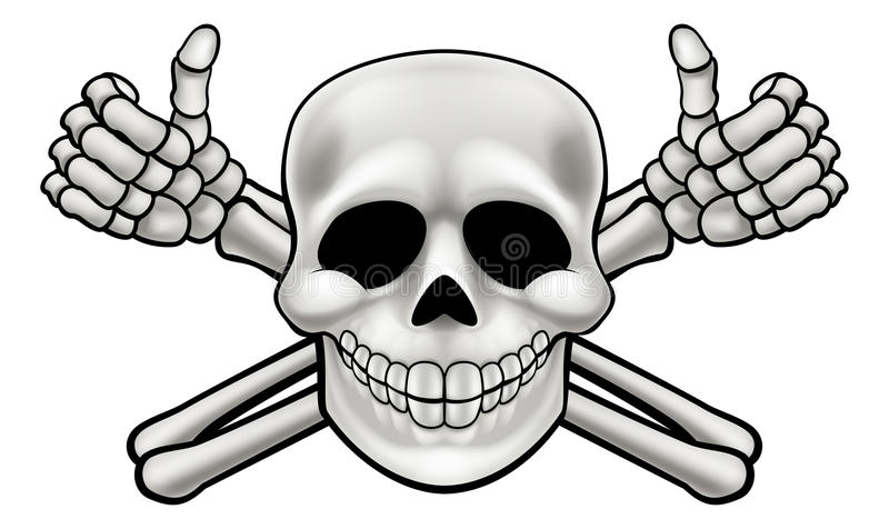Karikatur-Schädel und Daumen Up gekreuzte Knochen lizenzfreie abbildung