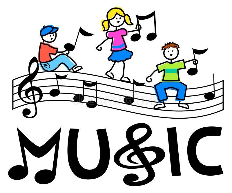 Karikatur scherzt musikalischen Stab vektor abbildung