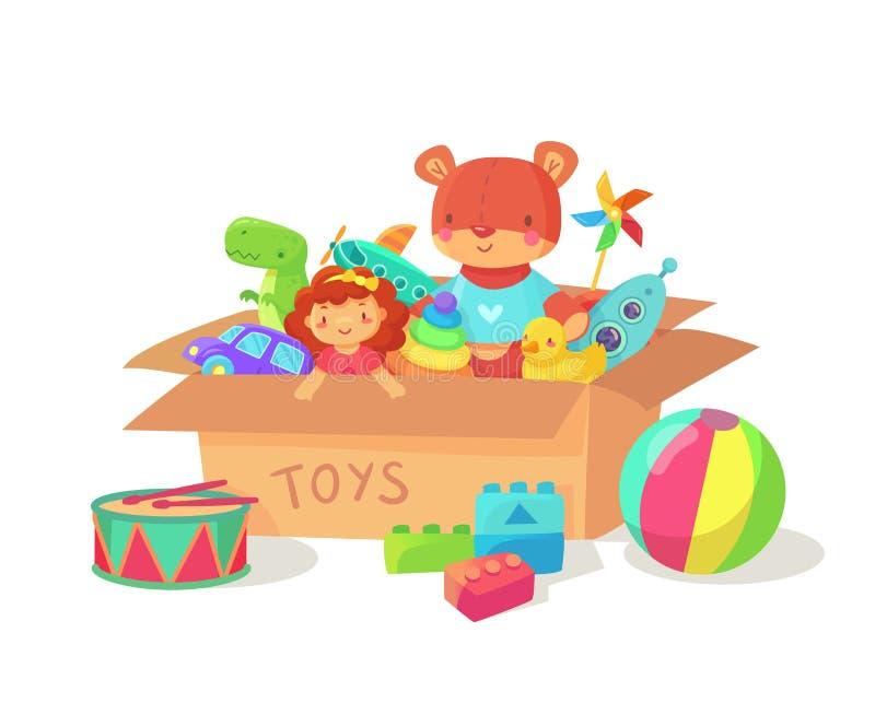 Karikatur scherzt Spielwaren in der Pappspielzeugkiste Kinderferiengeschenkkästen mit Kinderspielzeugen Spielzeugvektorillustrati vektor abbildung