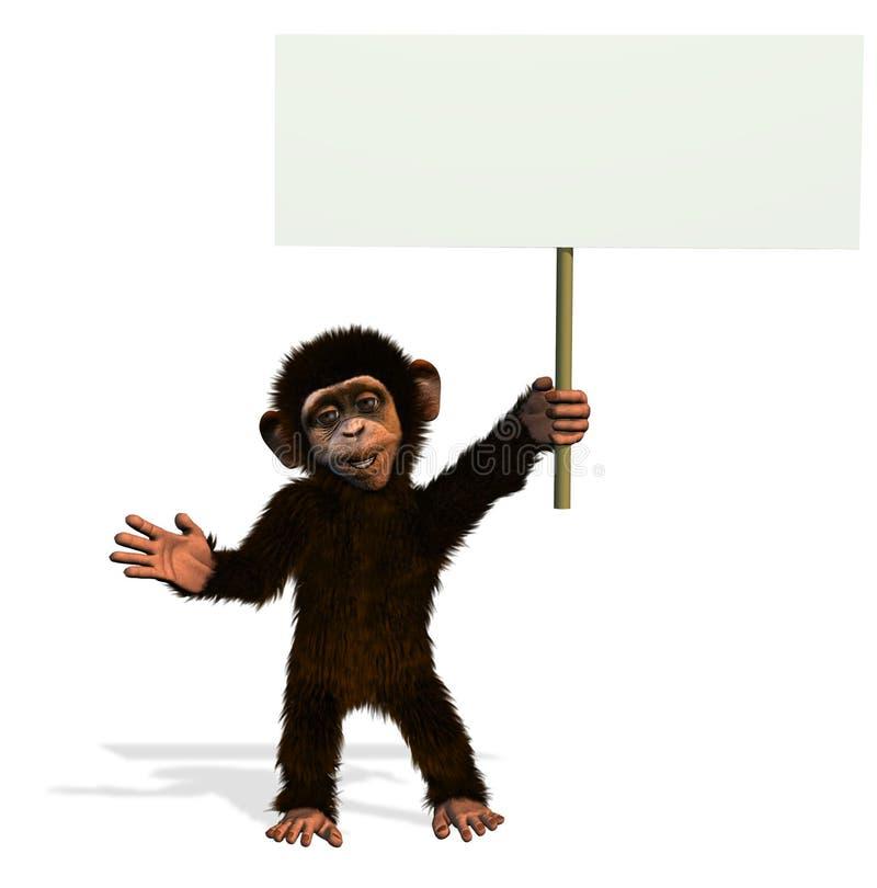 Karikatur-Schimpanse mit unbelegtem Zeichen lizenzfreie abbildung