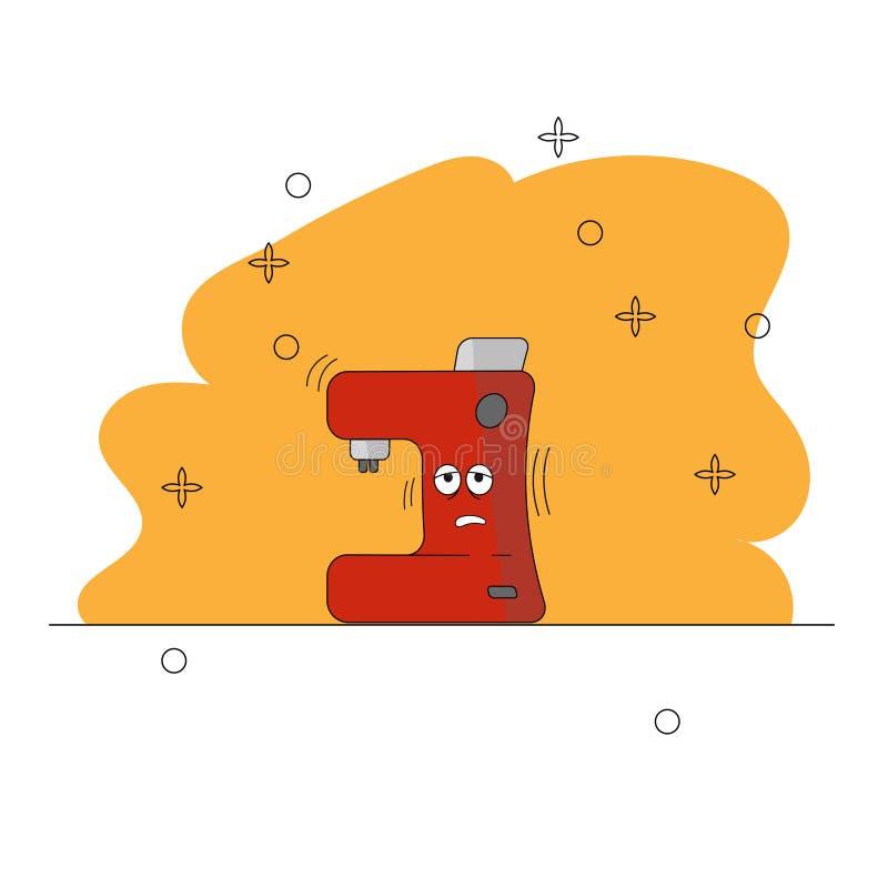 Karikatur-schläfrige Kaffeemaschineküchengeräte Lustiger Charakter Eine rote und graue Kaffeemaschine mit Augen auf einem Gelb lizenzfreie abbildung