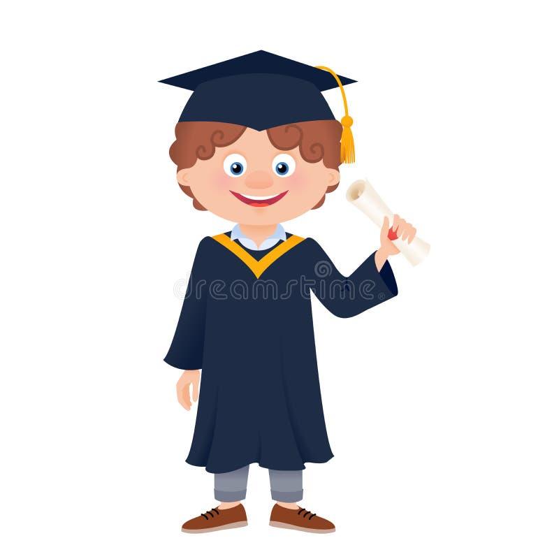 Karikatur-Schulabgänger im akademisches Kleiderholdingdiplom lizenzfreie abbildung
