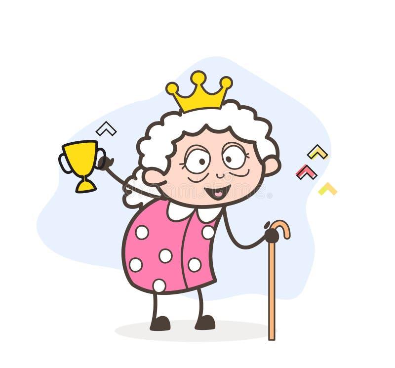Karikatur-Sieger-Oma, die Victory Cup Vector Illustration zeigt lizenzfreie abbildung