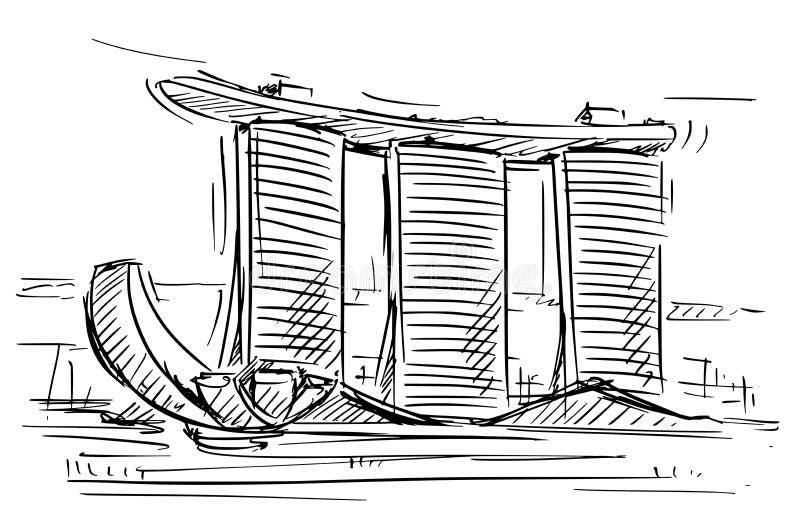 Karikatur-Skizze Marina Bay Sands, Singapur vektor abbildung