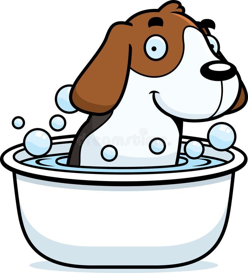 Karikatur-Spürhund-Bad stock abbildung