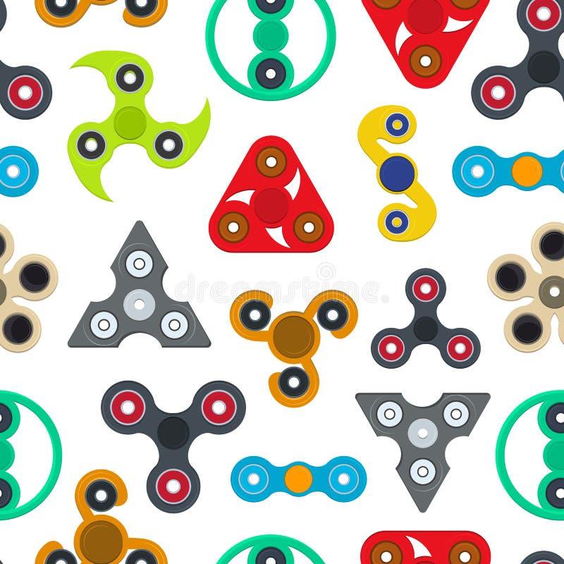 Karikatur-Spinner Toy Seamless Pattern Background Vektor stock abbildung