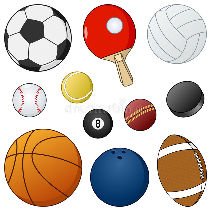 Karikatur-Sport-Ball-u. Gegenstand-Sammlung lizenzfreie abbildung