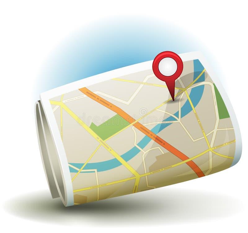 Karikatur-Stadt-Karten-Ikone mit GPS Pin vektor abbildung