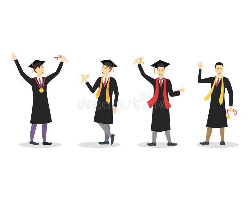 Karikatur-Staffelung des glücklichen Studenten-Jungen-Satzes Vektor stock abbildung