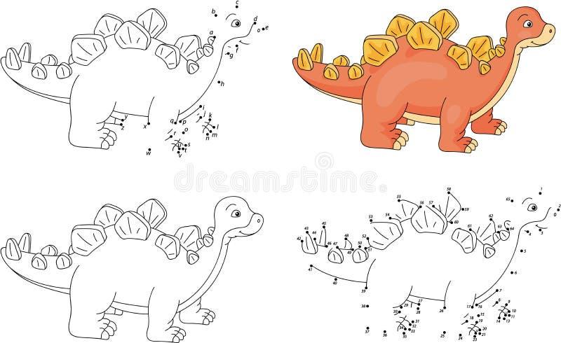 Karikatur Stegosaurus Malbuch und Punkt, zum des Spiels für Kinder zu punktieren vektor abbildung