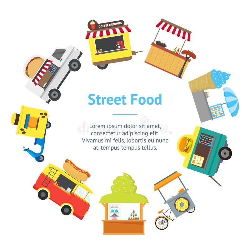 Karikatur-Straßen-Lebensmittel-LKW-Stall-Kiosk-Fahnen-Karten-Kreis Vektor vektor abbildung