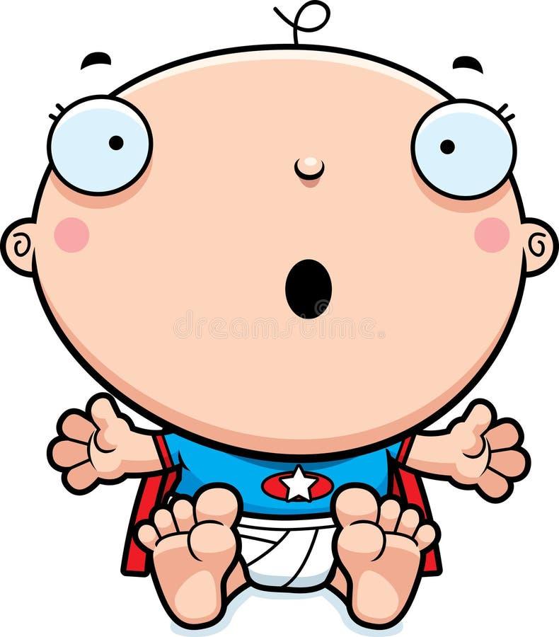 Karikatur-Superheld-Baby überrascht vektor abbildung