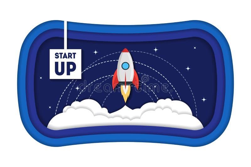 Karikatur-Symbol laufen Konzept-Raum-Schiff Rocket Paper Art an Vektor lizenzfreie abbildung