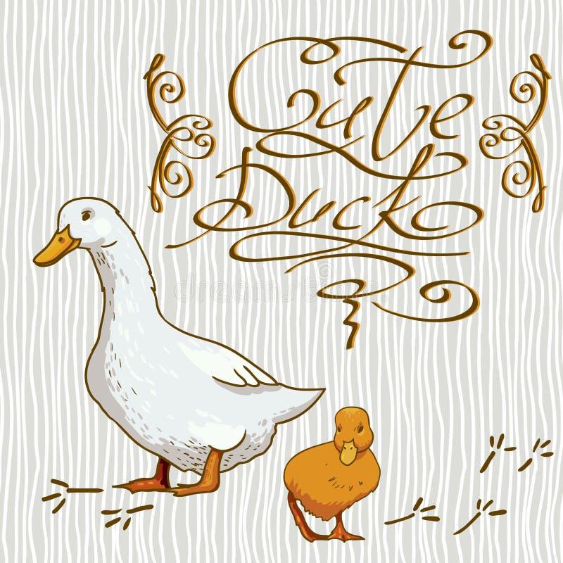 Karikatur-Tapete mit Ente lizenzfreie abbildung