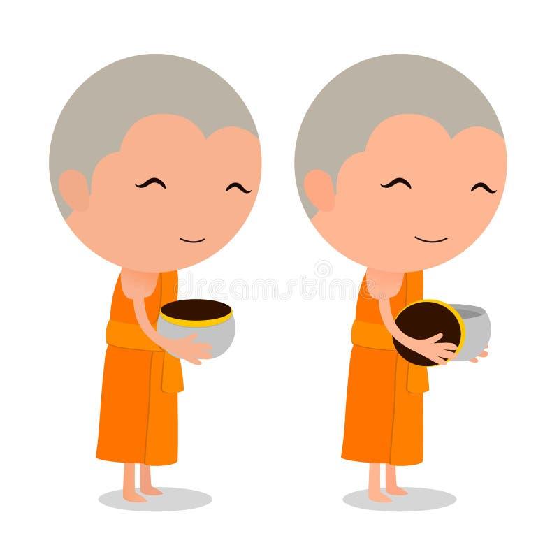Karikatur-thailändischer Mönch empfangen Lebensmittel lizenzfreie abbildung