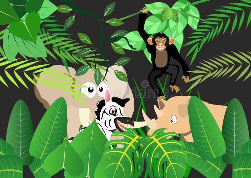 Karikatur Tier-` s stellte in Dschungelhintergrund-Vektorillustration ein lizenzfreie abbildung