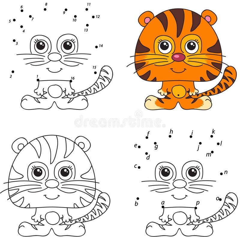 Karikatur-Tiger Malbuch Und Punkt, Zum Des Spiels Für Kinder Zu ...
