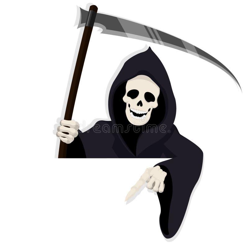 Karikatur-Todescharakter für Halloween-Anlagegut zeigend unten hinter Papier lizenzfreie abbildung