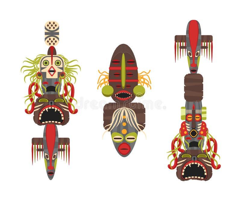 Karikatur-traditionelle religiöse Totem-Farbikonen eingestellt Vektor stock abbildung