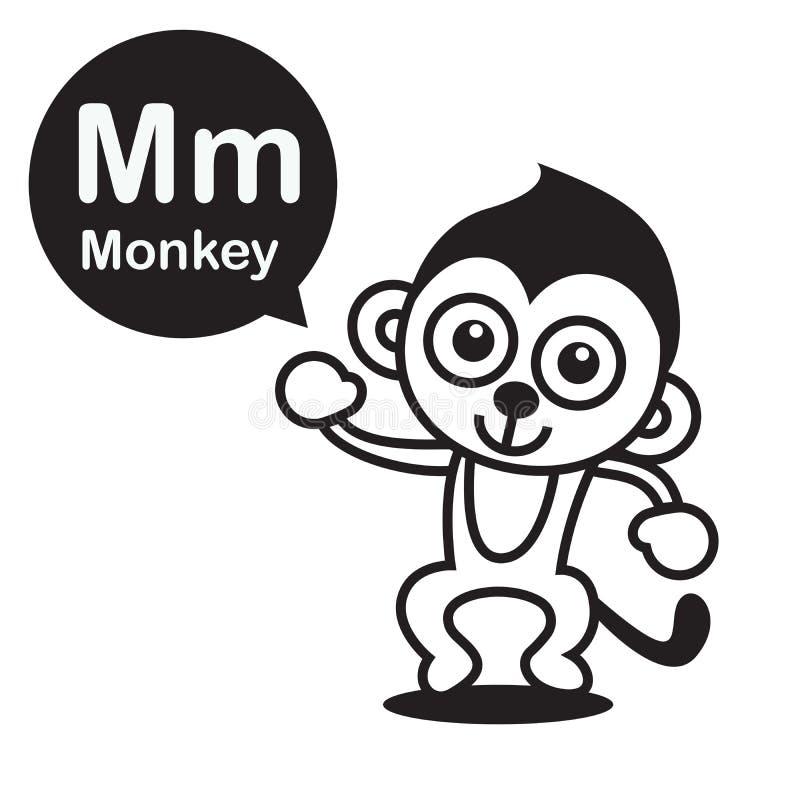 Karikatur Und Alphabet M Monkey Für Kinder Zum Lernen Und Zur Farbe ...