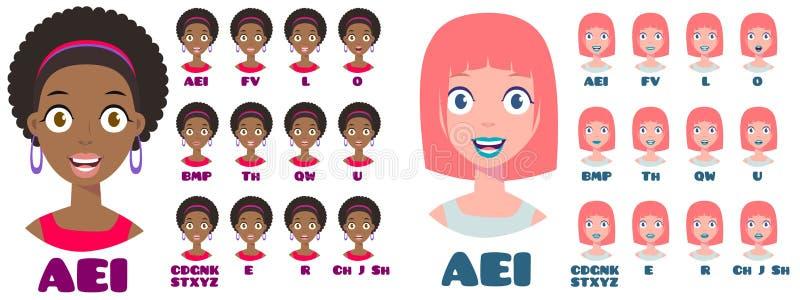 Karikatur-Unterhaltungsfrauen-Ausdrücke vektor abbildung