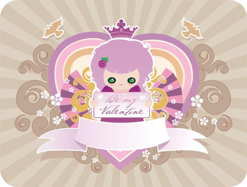 Karikatur-Valentinsgrußpostkarte stock abbildung