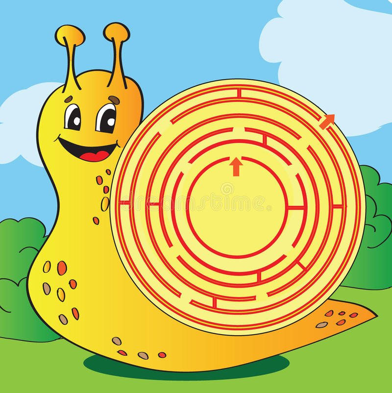 Karikatur-Vektor-Illustration des Bildungs-Labyrinths oder des Labyrinth-Spiels stock abbildung