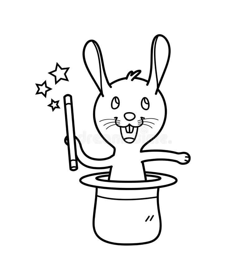 Karikatur-Vektor-Kaninchen, das einen magischen Stock herauskommt aus einen Magier ` s Hut durchführt Trick hält lizenzfreie abbildung